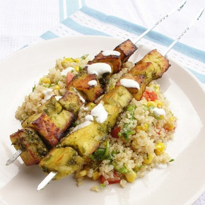 Coriander and Lime Paneer Kebabs and Summer Quinoa Salad