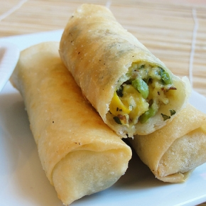 Roll Up! Roll Up! Paneer, Sweetcorn and Peas Spring Rolls
