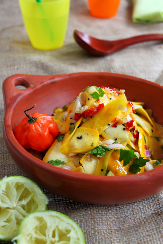 Mango and Courgette Salad with Jaggery-Lime Dressing