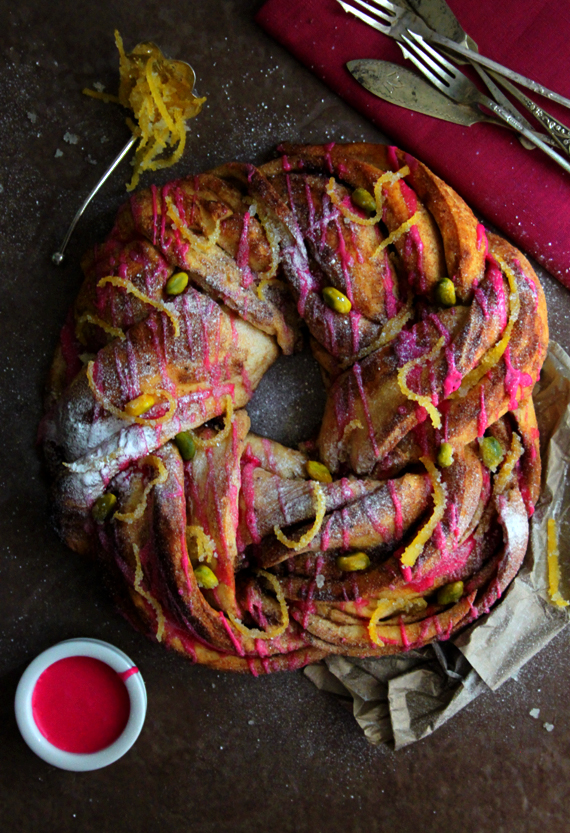 Cardamom Wreath with Rose Drizzle and Candied Lemon Peel