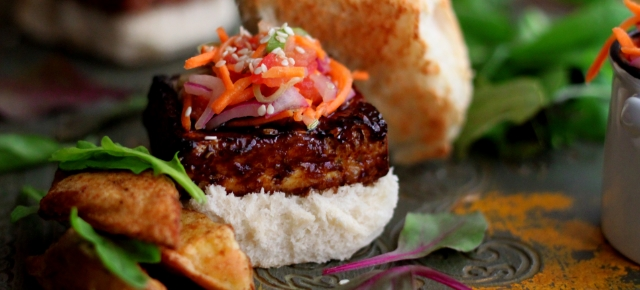 Tamarind-Glazed Tofu Sliders with Kachumbar Slaw