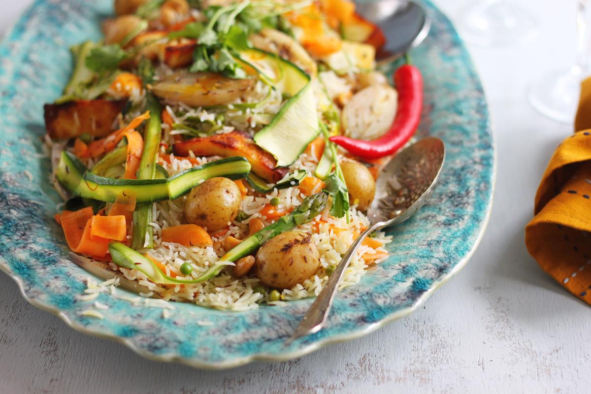 Baked Buttered Vegetable Pilaf f
