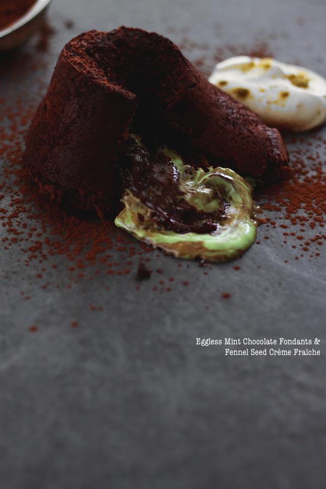 Mint Chocolate Fondants Fennel Seed Creme Fraiche Recipe Image