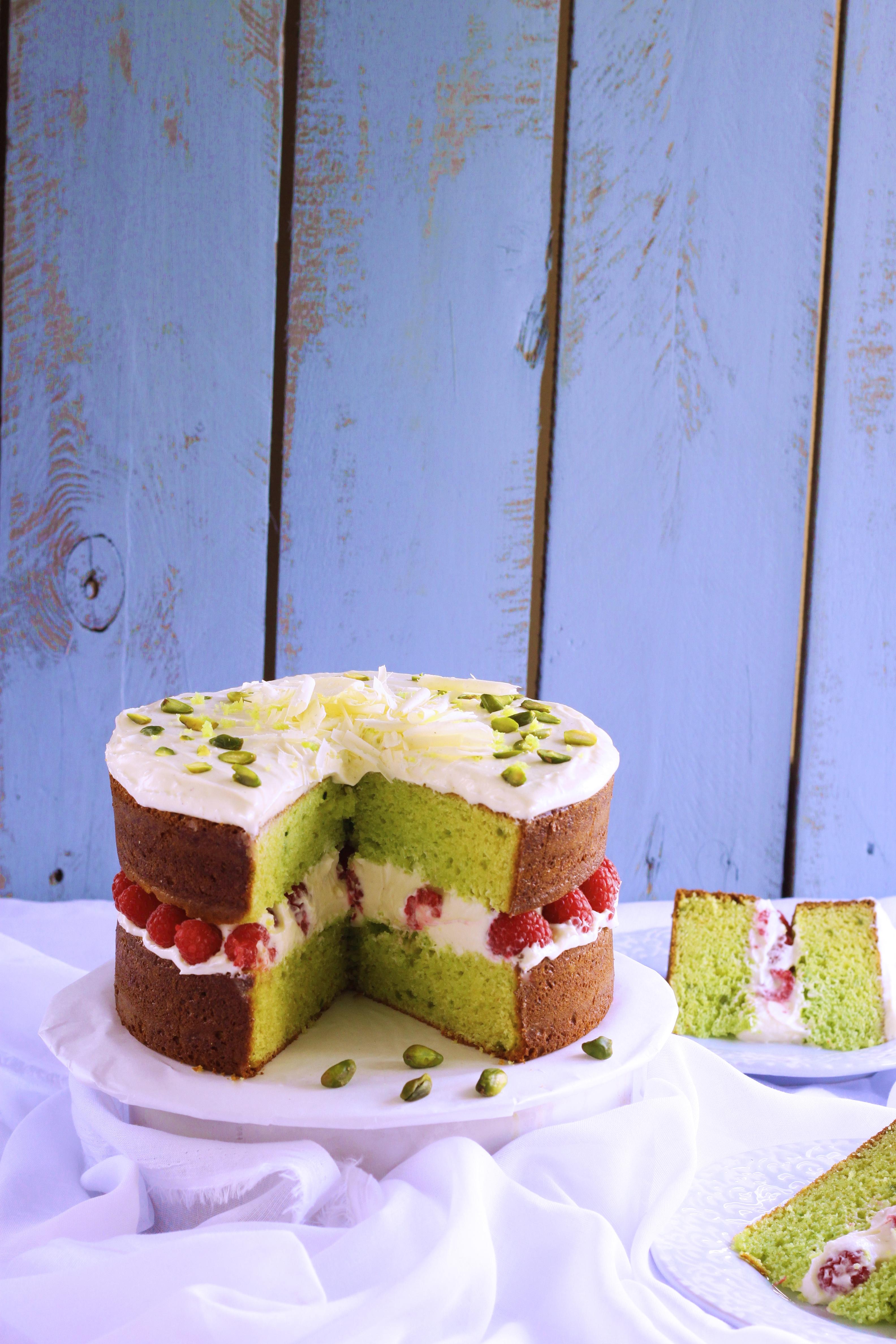 Eggless Pistachio and Raspberry Buttermilk Cake