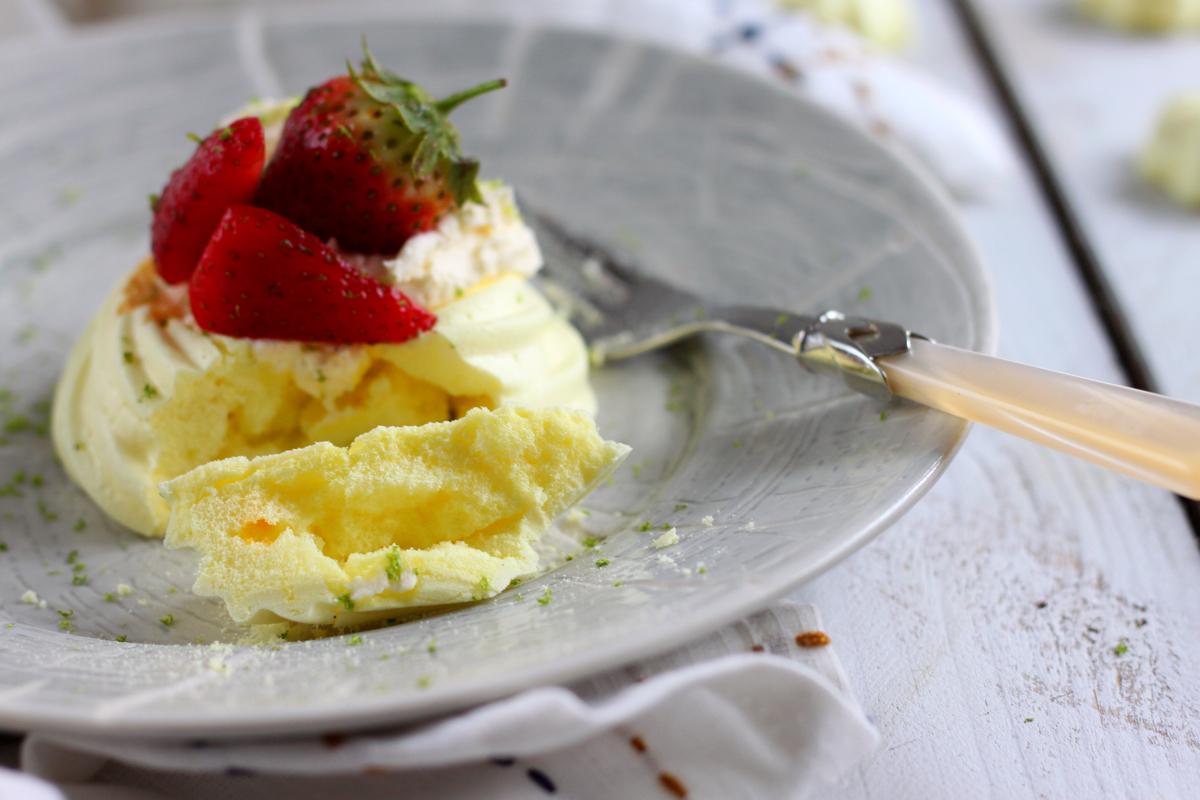 Vegan Saffron, Strawberry and Lime Meringue Nests