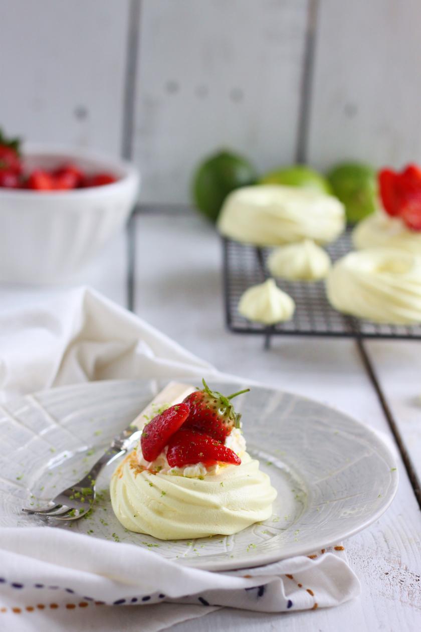 Vegan Saffron Strawberry and Lime Meringue Nests