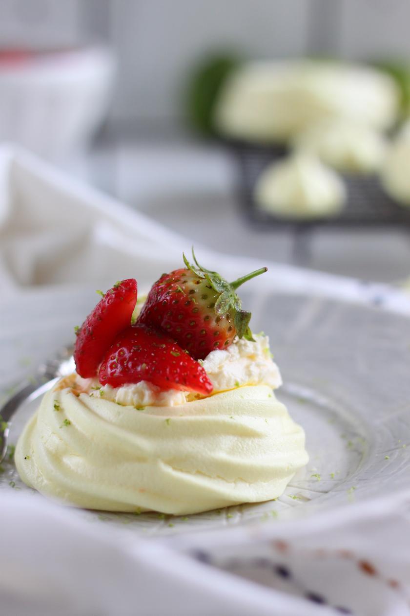 Vegan Saffron Strawberry and Lime Meringue Nests 3