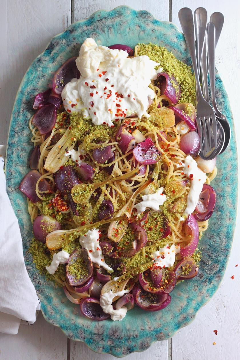 Spaghetti with Nigella-Roasted Onions Herbed Breadcrumbs and Burrata