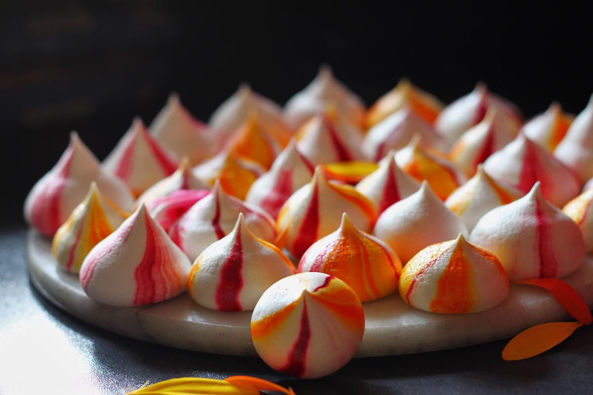Vegan Mango, Raspberry and Vanilla Meringues