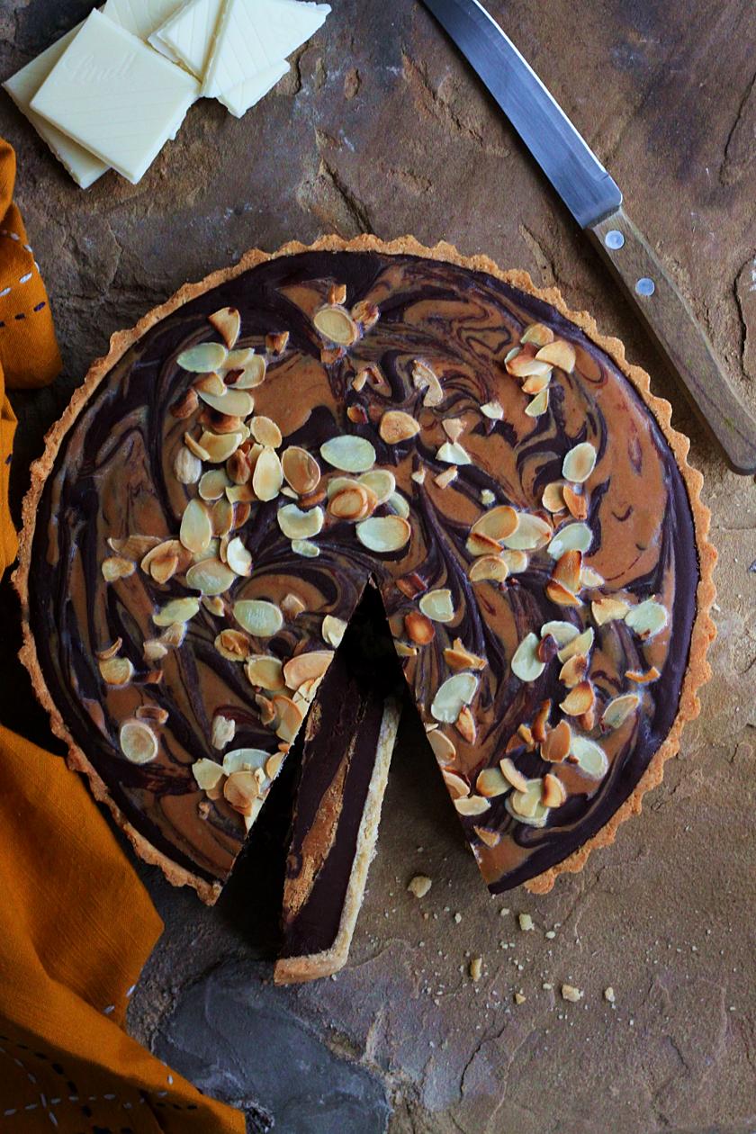 Eggless Dark Chocolate, Almond and Roasted White Chocolate Tart