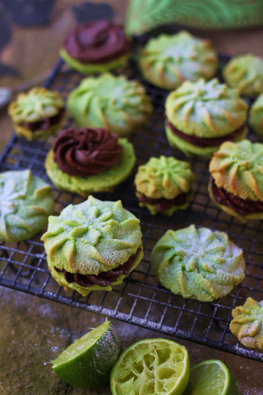 Lime and Dark Chocolate Melting Moments