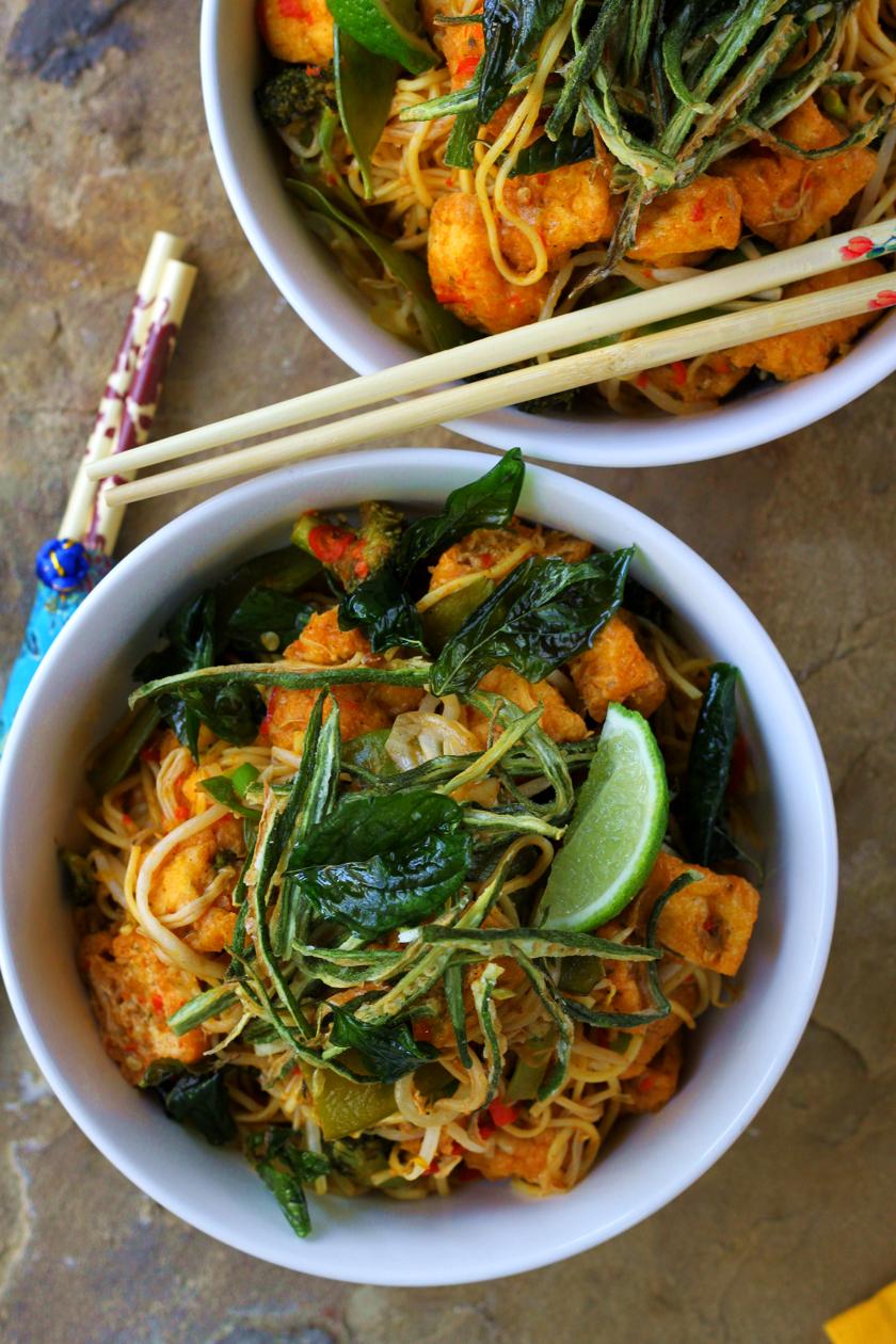 Chilli-Garlic Tofu Noodle Bowls with Crispy Fried Okra