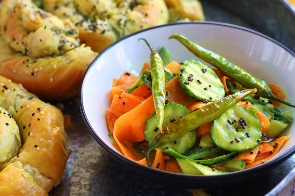 Cucumber Carrot and Mustard Salad