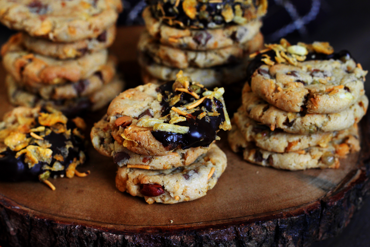 Sweet and Salty Chocolate Chip Chevdo Cookies