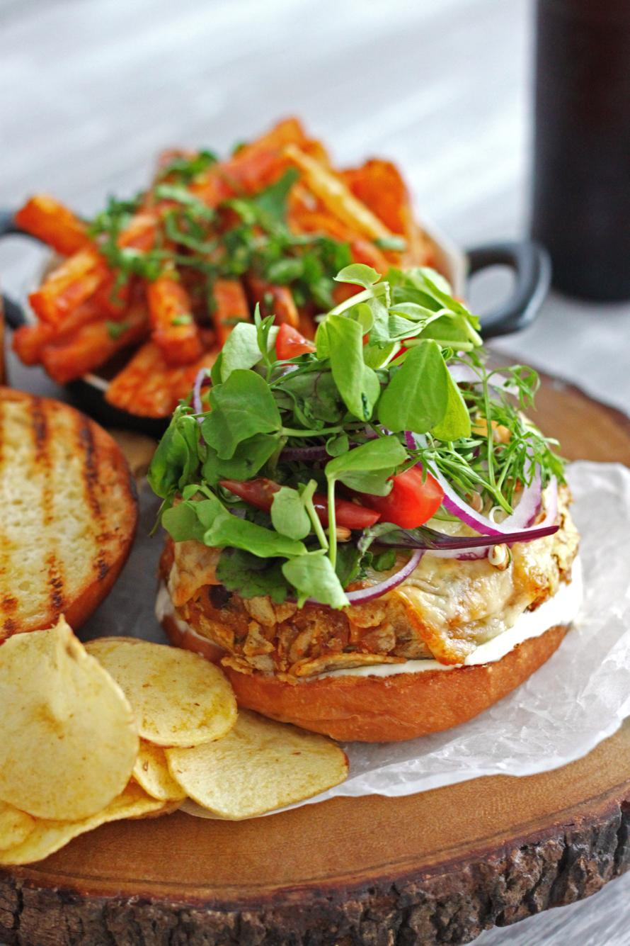 Kenyan Sweet Potato Veggie Burgers and Dad's Masala Chips