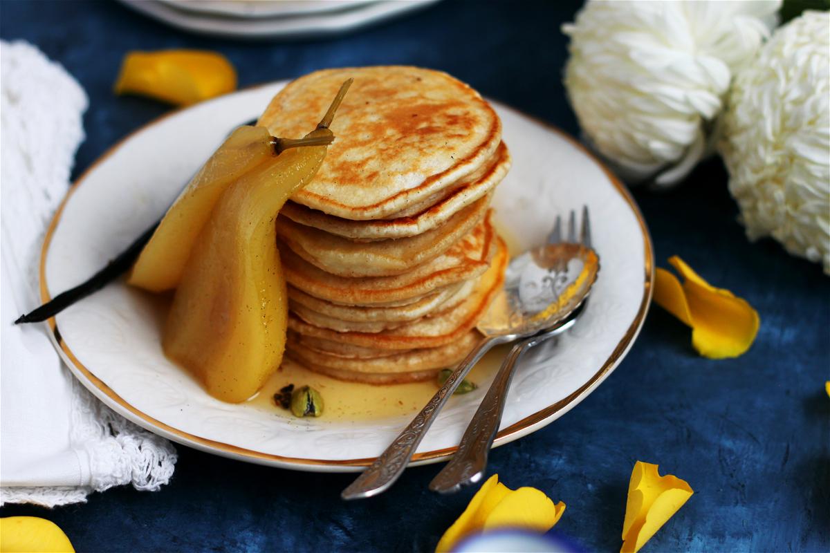 Fluffy Vegan Aquafaba Pancakes with Vanilla and Cardamom Poached Pears