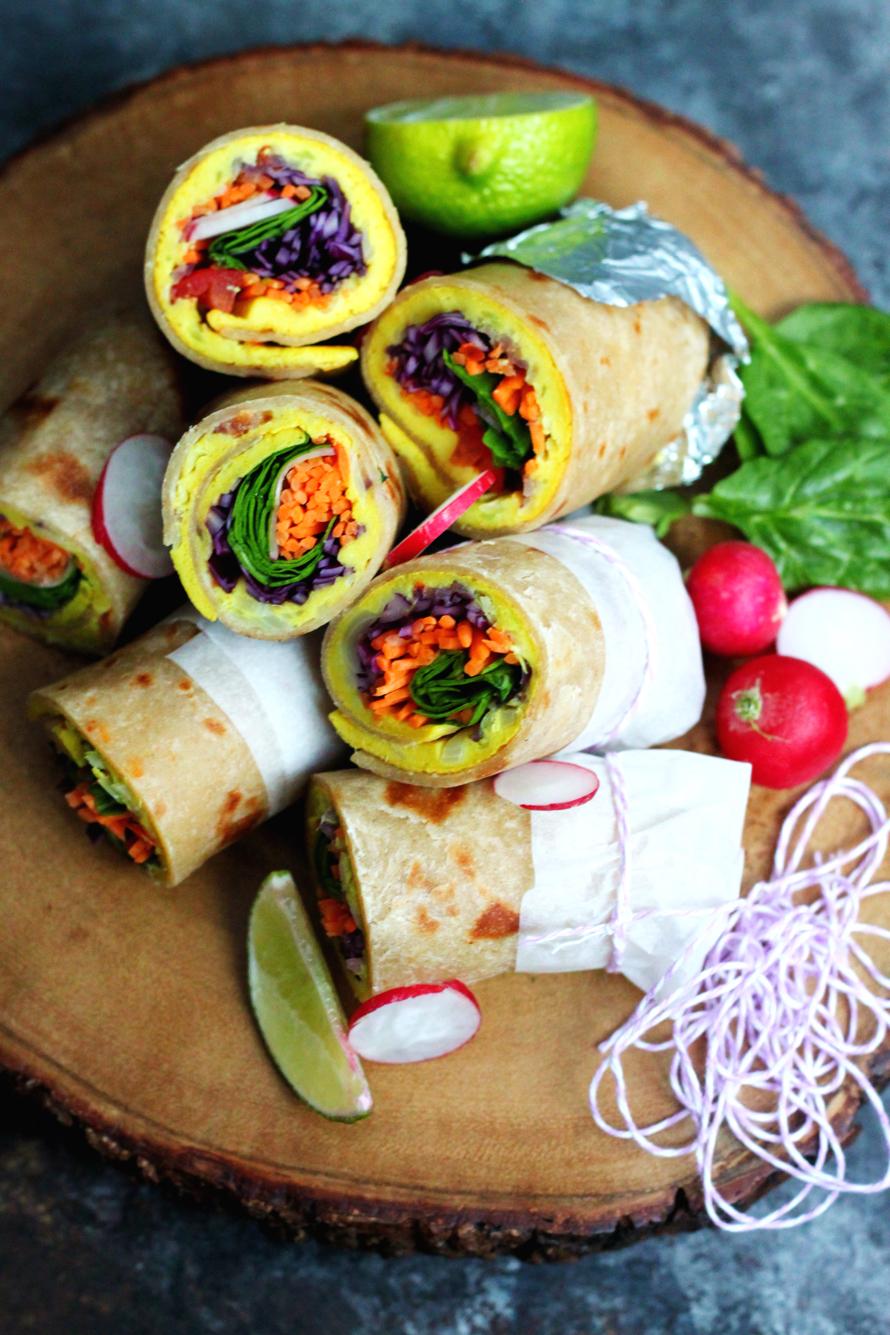 Ugandan Rolex - East African Breakfast Wraps Rolled with a Vegan Omelette Inside