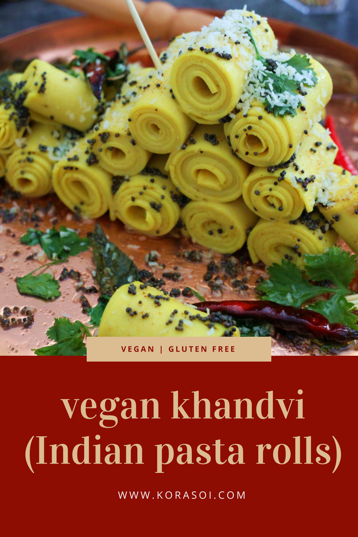 Tightly rolled, bite-sized pieces of pasta made using chickpea flour and soy yoghurt. They hot, sweet, sour, salty and so delicious. Khandvi is a popular snack from Gujarat, western India.