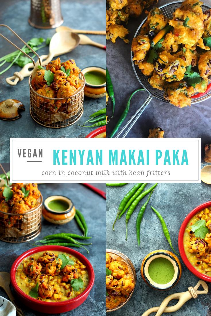 Makai Paka & Maharagwe Bhajiya (Sweetcorn in Coconut Milk Topped with Crispy Bean Fritters)