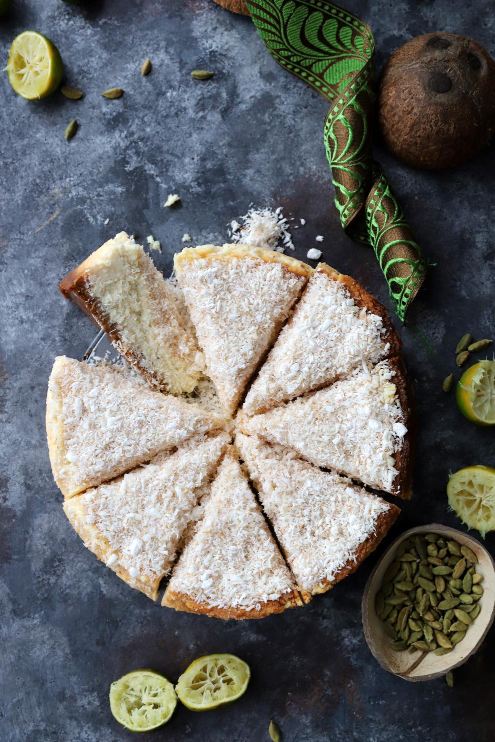 Double Coconut, Lime & Cardamom Cheesecake