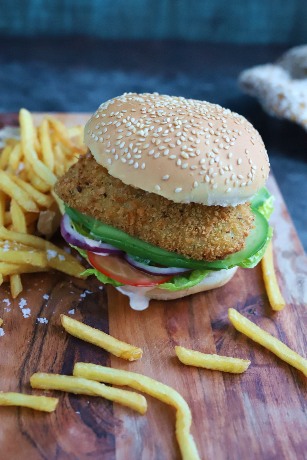 Crispy Vegan Chicken-less Burger