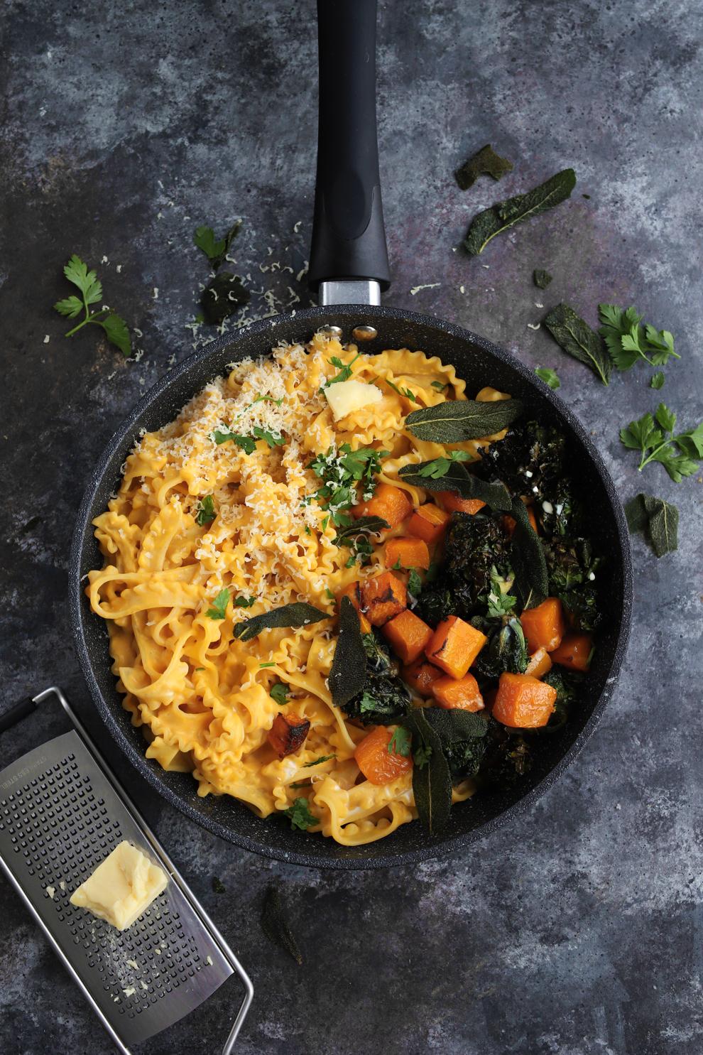 Squash & Mascarpone Pasta with Crispy Kalettes