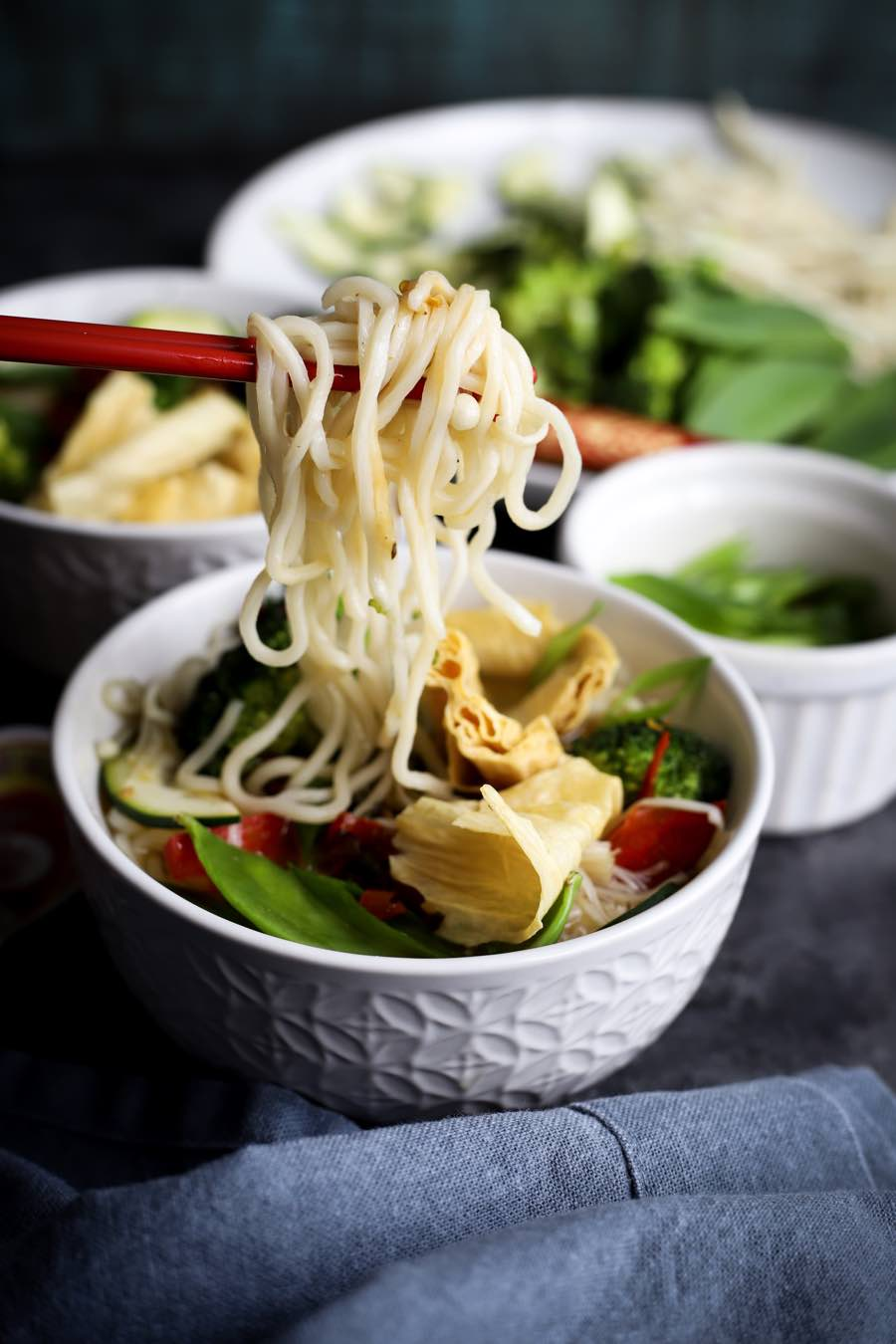 Vegan Clear Broth with Tofu Skin & Noodles