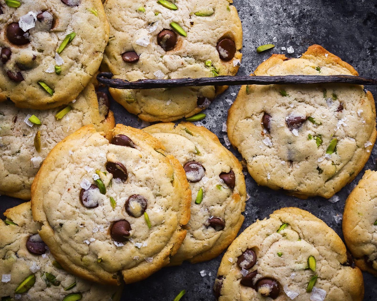 Vegan Pistachio & Vanilla Salt Chocolate Chip Cookies