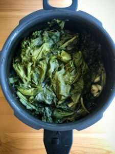 Cooked mustard greens for Saag Paneer