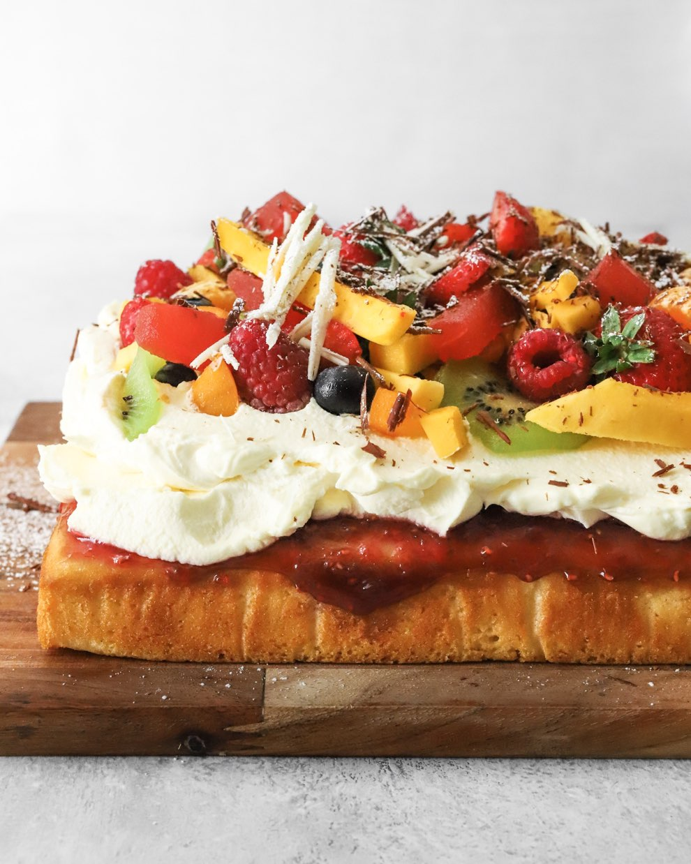 Vegan Fresh Fruit Cake with Whipped Cream