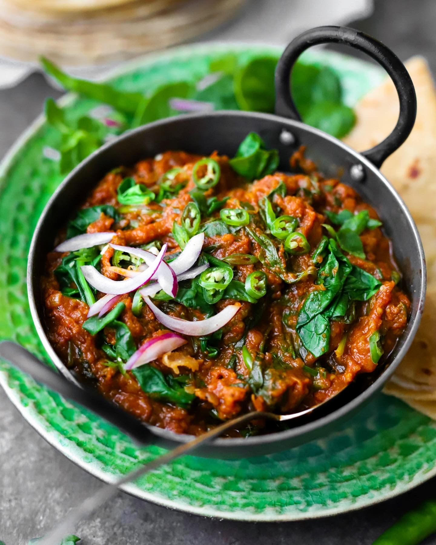 Burnt Aubergine & Spinach Curry 10 Easy Veg Curries for Roti