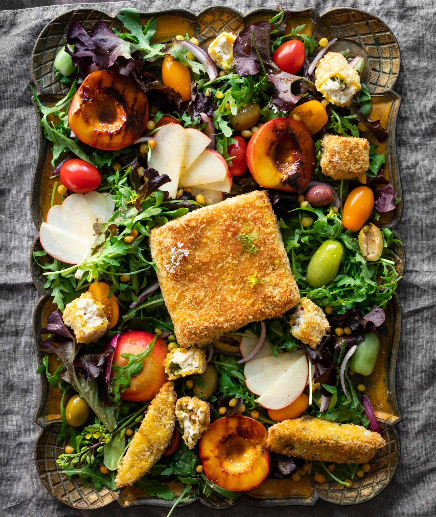 Crispy Paneer & Grilled Nectarine Salad
