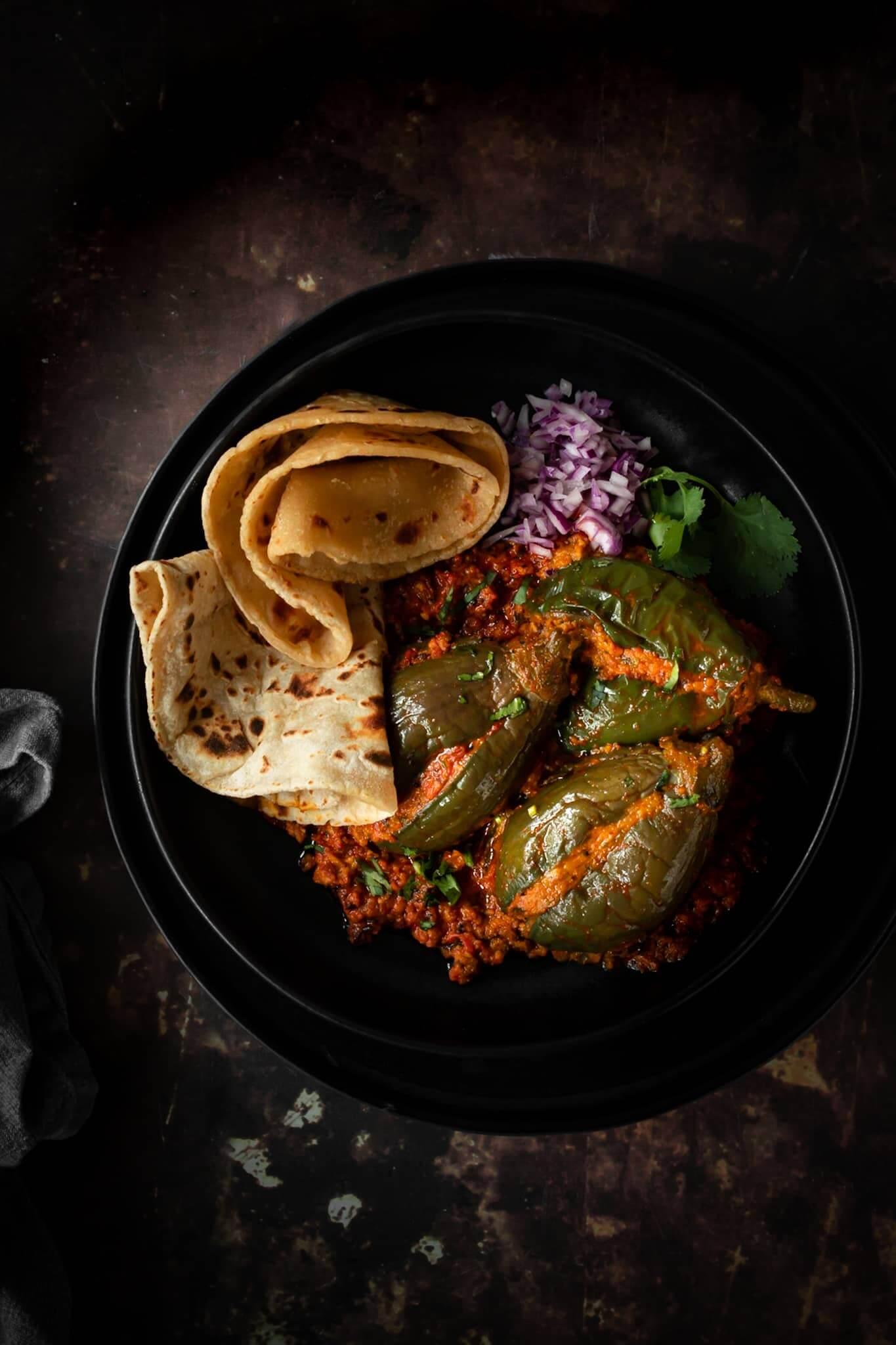 Bharela Ravaiya nu Shaak - Gujarati Curry with Stuffed Aubergines
