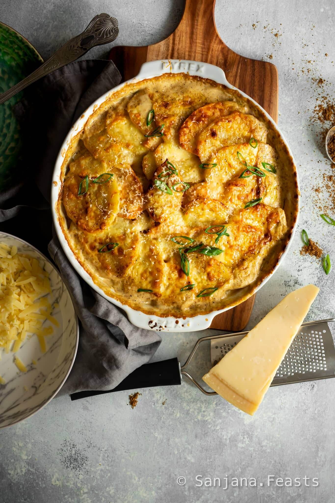 Garam Masala Potato Gratin Recipe by Sanjana Feasts