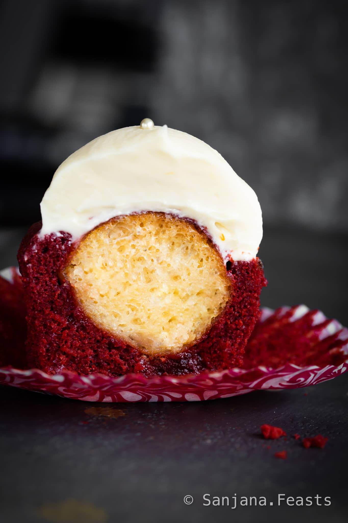 Eggless Red Velvet Cupcakes with Gulab Jamun inside