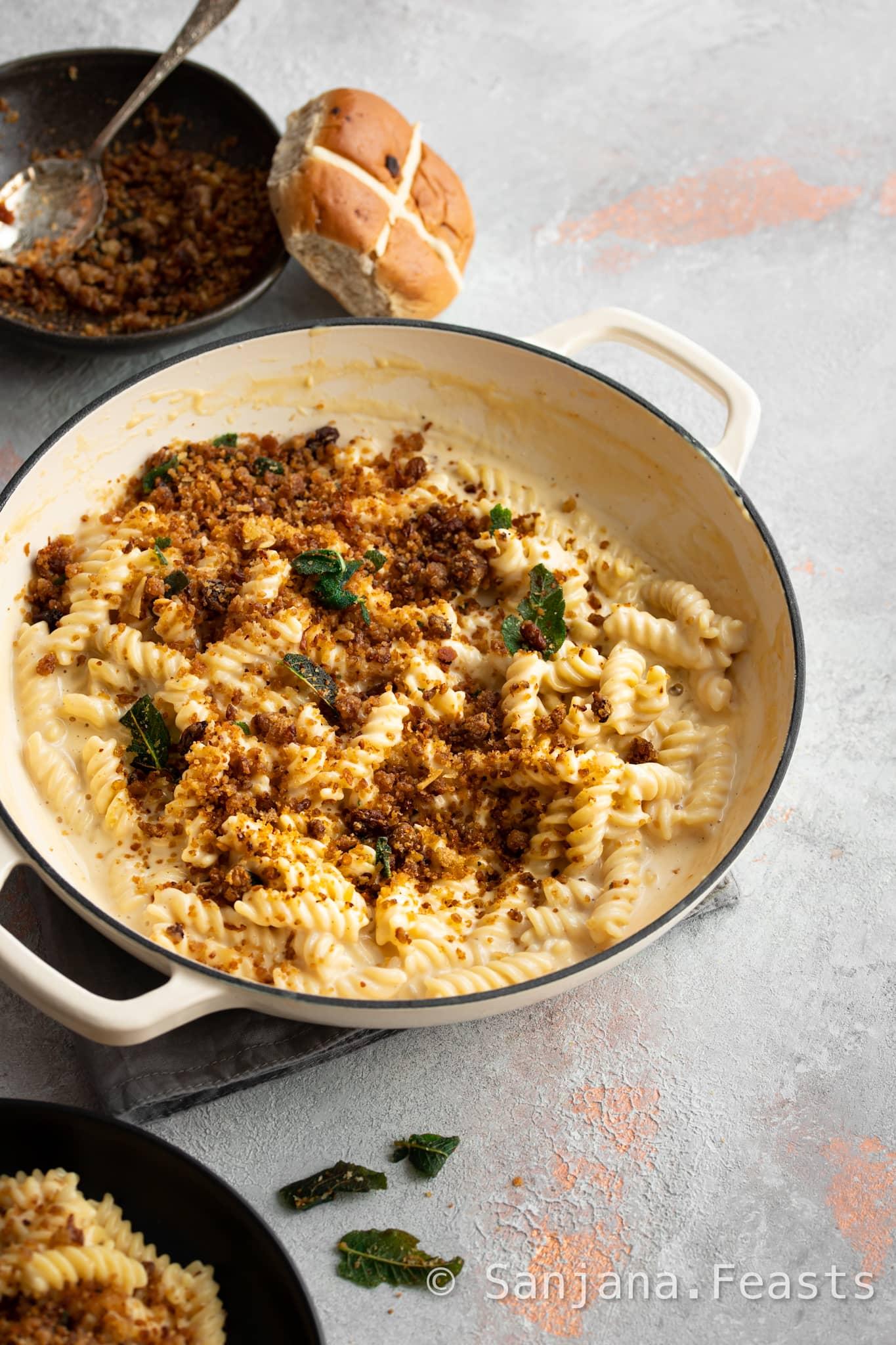 Hot Cross Crumb Mac & Cheese