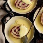 Vegan Jam Roly Poly with Custard