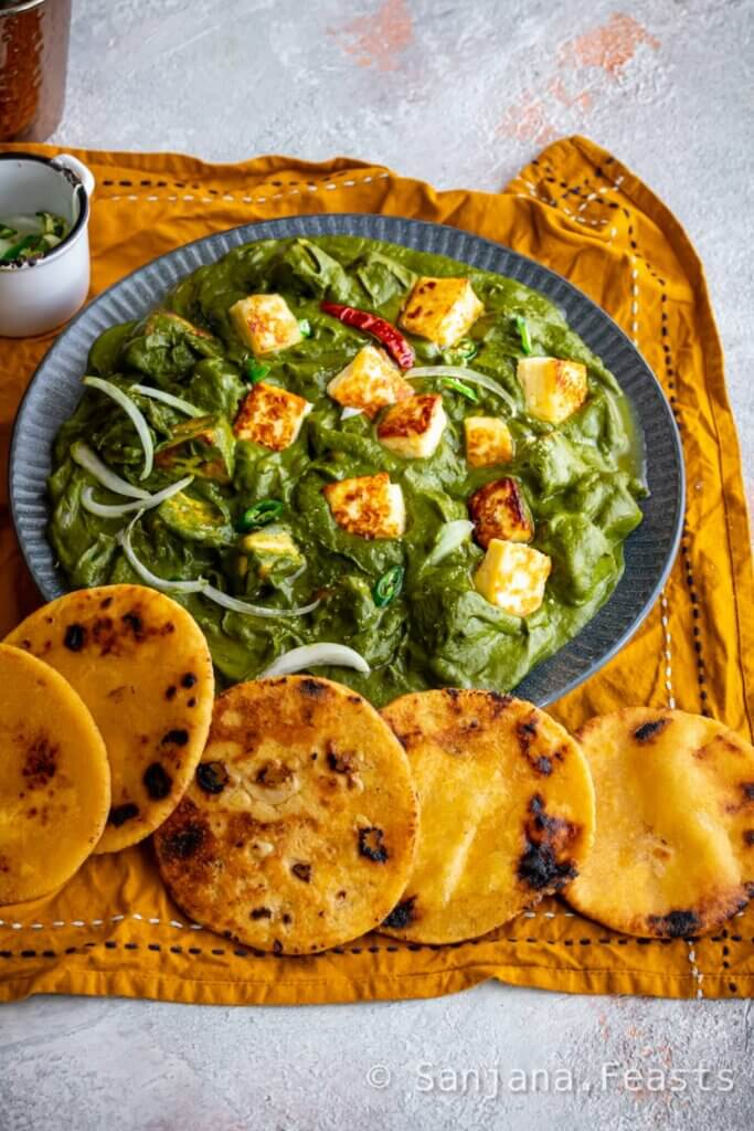 Bowl of saag paneer with authentic Indian recipe