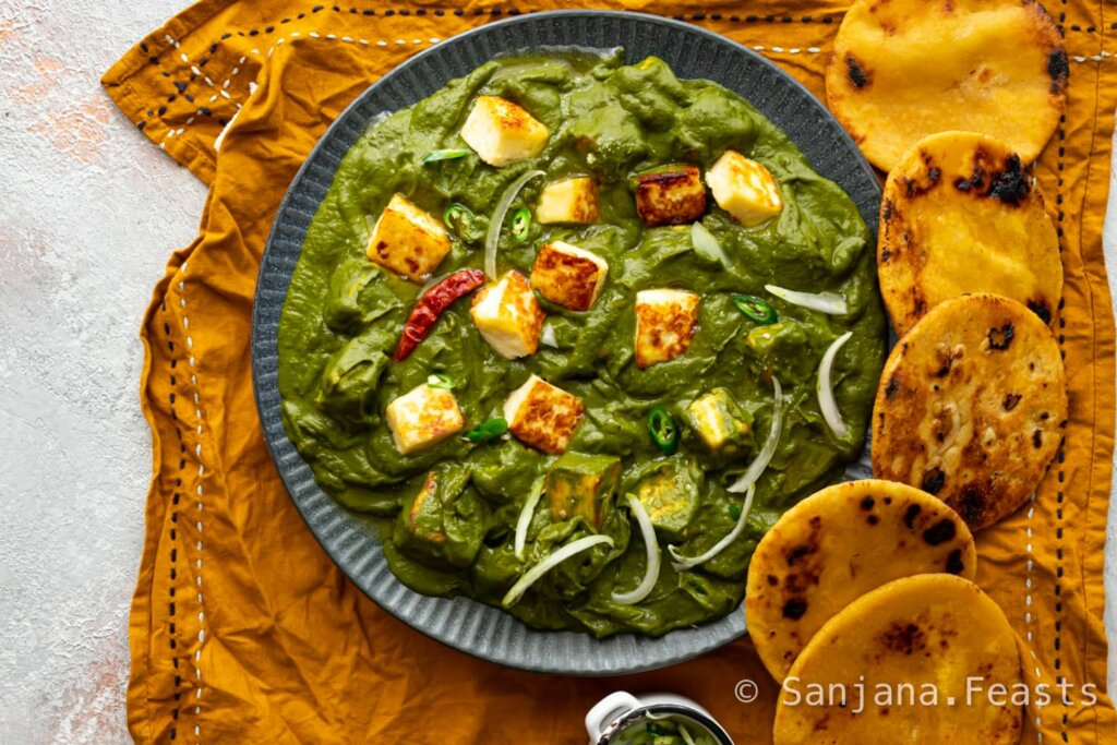 Homemade Saag Paneer spinach dish with mustard greens