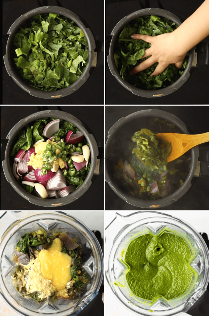 How to cook saag in a pressure cooker