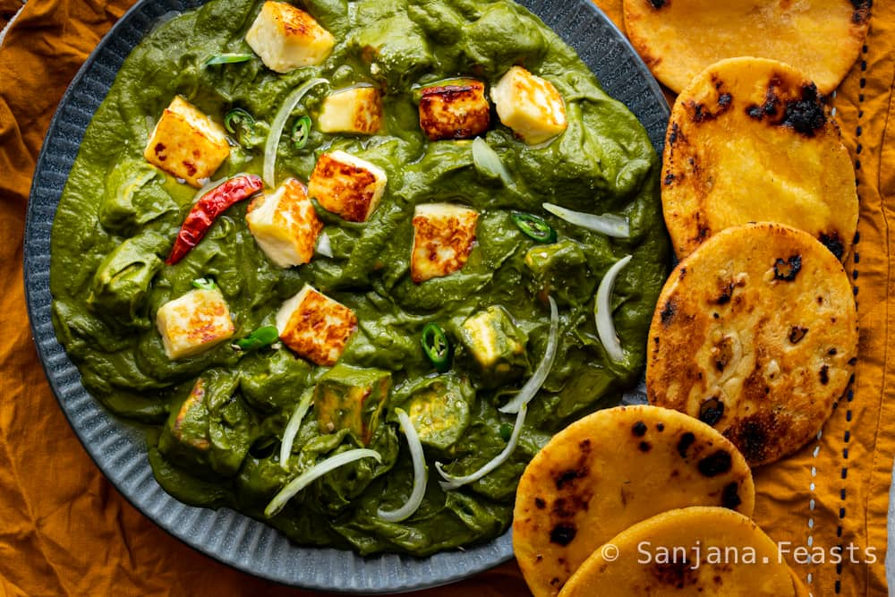 Indian Saag dish with paneer cheese