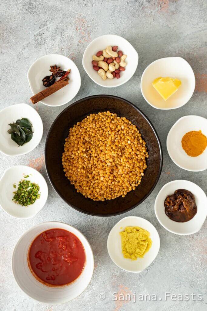 Ingredients for Gujarati Wedding Dal