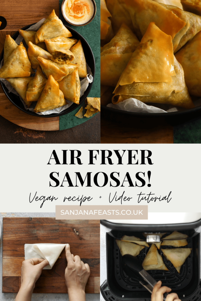 Golden Air Fryer Samosas Vegetarian Video Tutorial