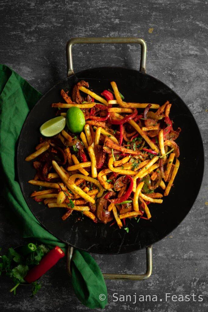 Vegan Jalfrezi recipe Masala Chips