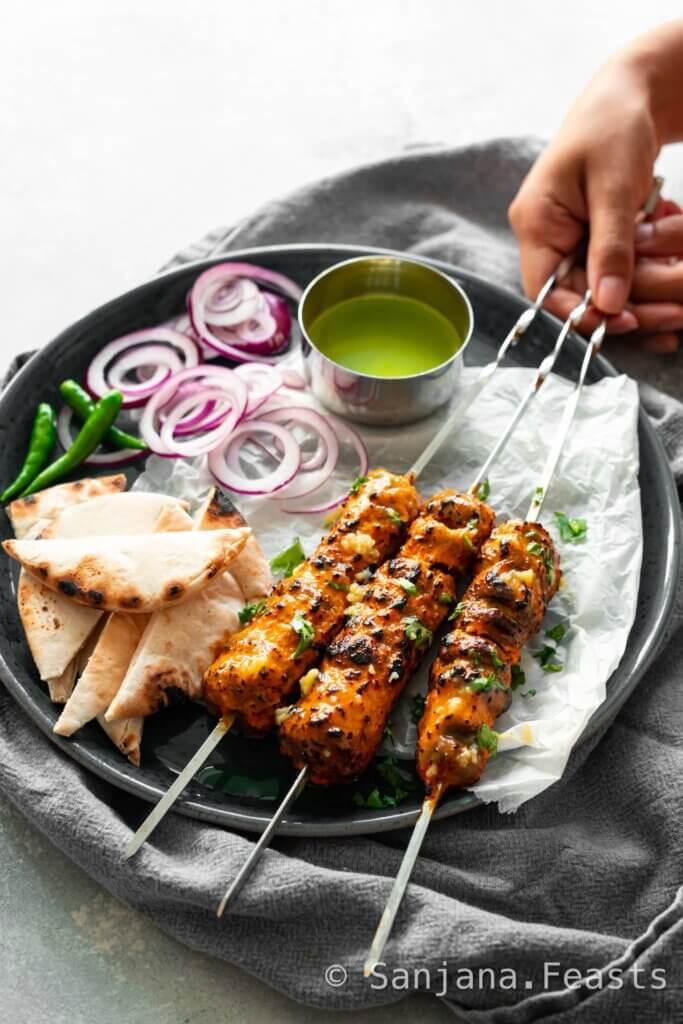 Vegetarian barbecue recipe tandoori mushrooms