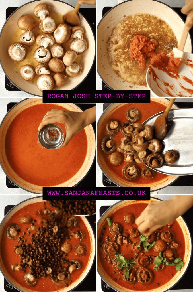 mushroom chickpea rogan josh step by step vgeetarian